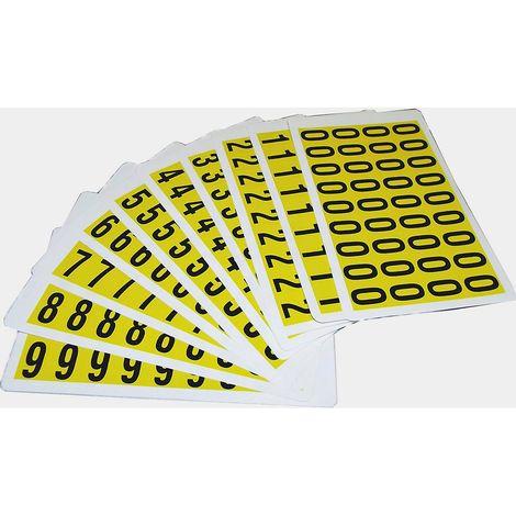 Jeu de caractères - h x l 19 x 14 mm - chiffres adhésifs 0 – 9, 10 cartes