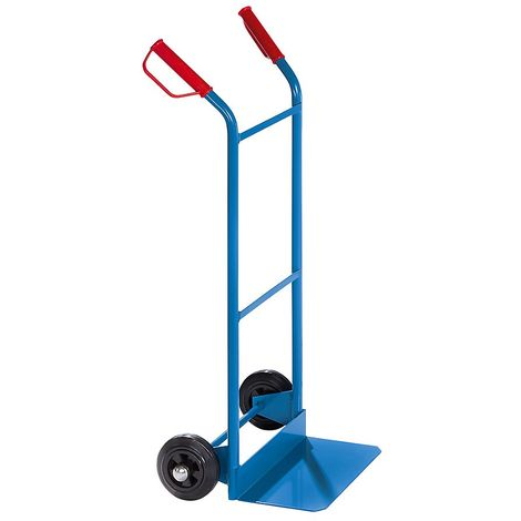 EUROKRAFT Diable polyvalent - charge max. 100 kg - avec roues à bandage caoutchouc - Coloris: Bleu clair RAL 5012