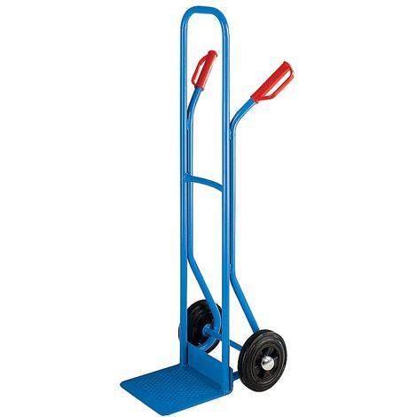 EUROKRAFT Diable à bavette fixe - charge max. 200 kg - roues à bandage caoutchouc - Coloris: Bleu clair RAL 5012
