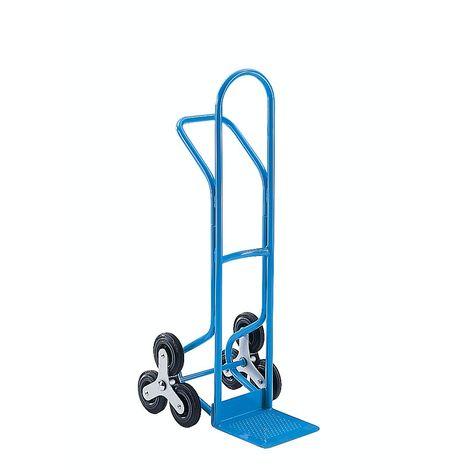 Diable pour escaliers en acier, charge max. 200 kg - EUROKRAFT - Bleu clair RAL 5012