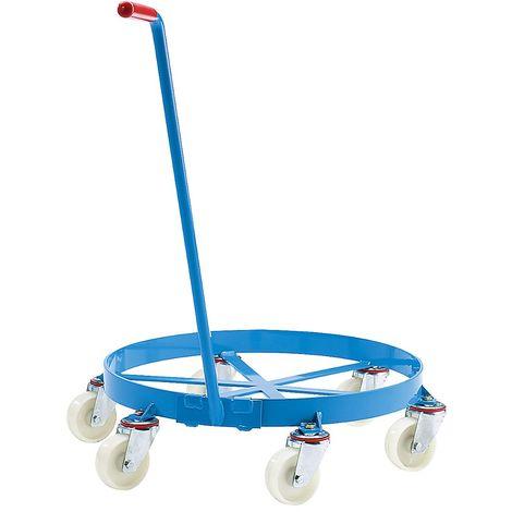 EUROKRAFT Roule-fût, plateau roulant ouvert, force 450 kg 6 roulettes pivotantes - Coloris: Bleu clair RAL 5012