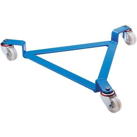 EUROKRAFT Roule-fût, plateau roulant ouvert, bleu clair - force 270 kg, Ø int. châssis 630 mm - 3 roulettes pivotantes - Coloris: Bleu clair RAL 5012