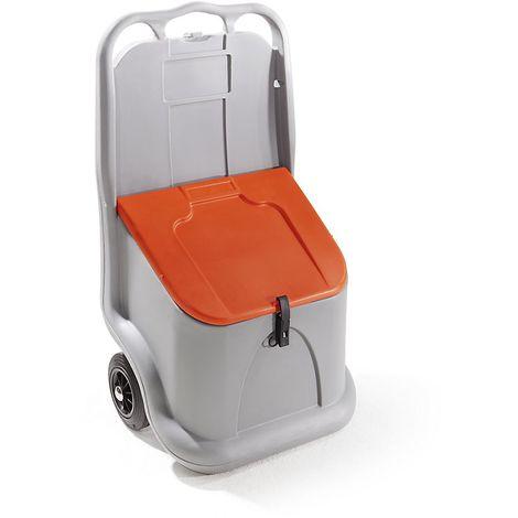 CEMO Bac à sel mobile, capacité 75 l avec 2 roues et couvercle - Coloris du conteneur: Gris