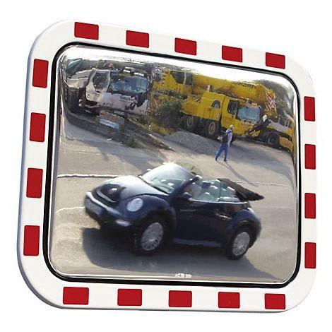 Miroir de circulation routière en verre acrylique - cadre en polystyrène, rectangulaire - l x h 800 x 600 mm