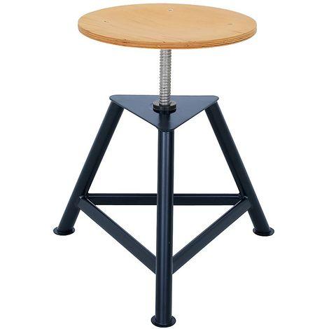 Tabouret d'atelier avec assise en contreplaqué de hêtre - tabouret pivotant à trois pieds - hauteur réglable par - Coloris piétement: noir profond RAL 9005