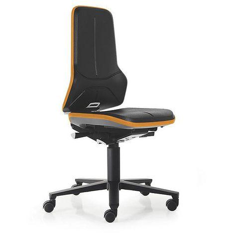 Siège d'atelier NEON, assise en mousse intégrale, noir/orange - Coloris assise et dossier: noir