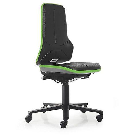 Siège d'atelier NEON, assise en mousse intégrale, noir/vert - Coloris assise et dossier: noir