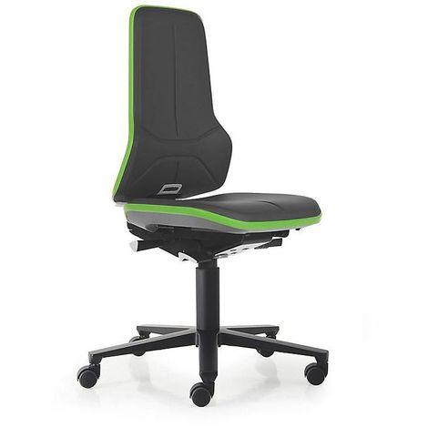 Siège d'atelier NEON, assise en similicuir, noir/vert - Coloris assise et dossier: noir