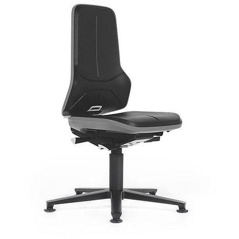 Siège d'atelier NEON avec patins, assise en mousse intégrale, noir/gris - Coloris assise et dossier: noir
