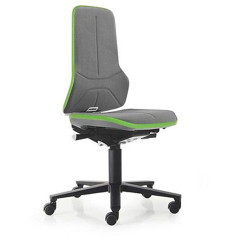 Siège d'atelier NEON avec roulettes, assise en Supertec, gris/vert - Coloris piétement: noir