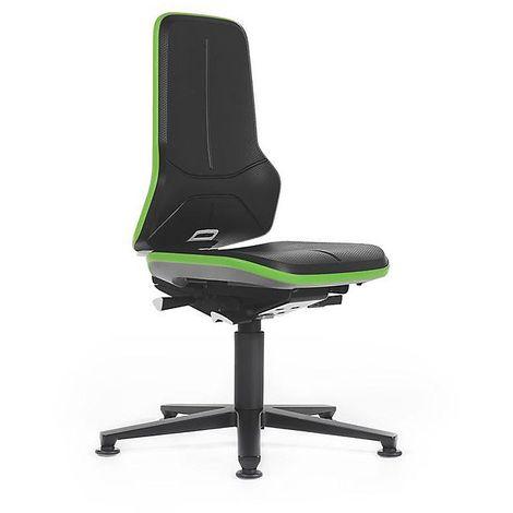 Siège d'atelier NEON avec patins, assise en mousse intégrale, noir/vert - Coloris assise et dossier: noir
