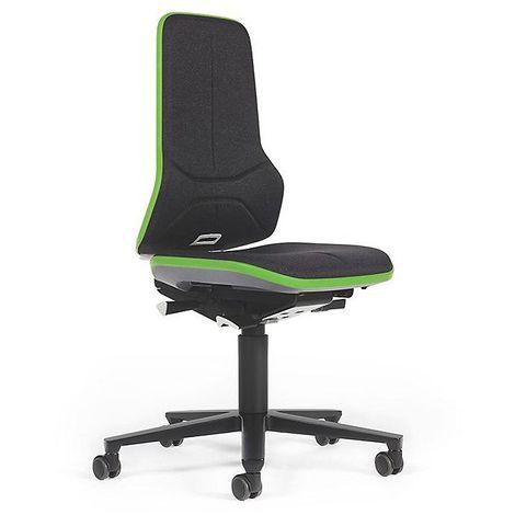 Siège d'atelier NEON, assise en tissu, noir/vert - Coloris assise et dossier: noir