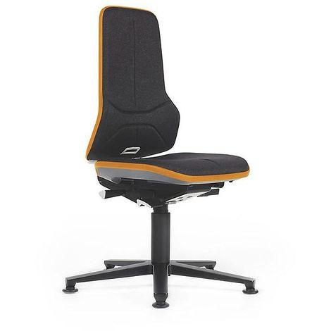 Siège d'atelier NEON avec patins, assise en tissu, noir/orange - Coloris assise et dossier: noir