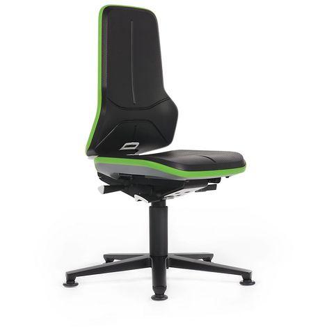 Siège d'atelier NEON, assise rembourrée mousse intégrale, noir/vert - Coloris piétement: noir