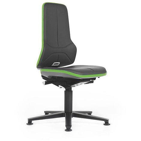 Siège d'atelier NEON, assise similicuir, noir/vert - Coloris piétement: noir