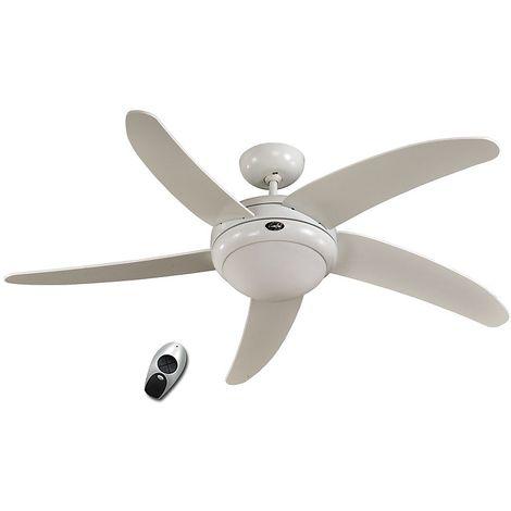 Ventilateur de plafond ELICA - avec télécommande - laque blanche - Coloris du boîtier: laqué blanc