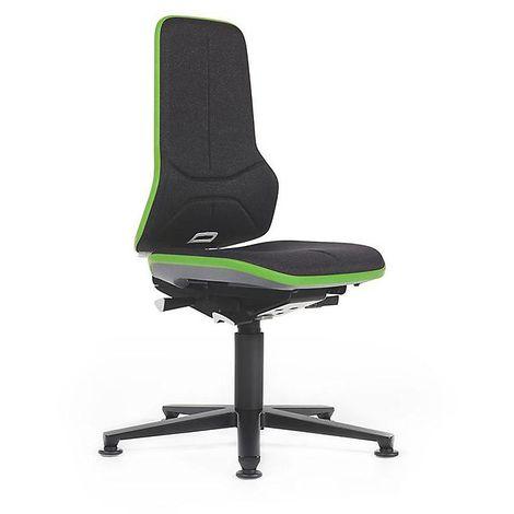Siège d'atelier NEON avec patins, assise en tissu noir / vert - Coloris assise et dossier: noir