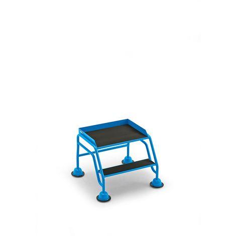 EUROKRAFT Escabeau mobile à plate-forme, 2 marches, sans garde-corps, caoutchouc strié - Coloris piétement: Bleu clair RAL 5012