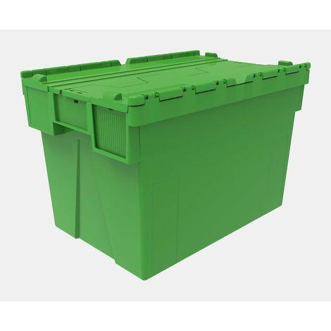 Bacs gerbables réutilisables, lot de 5 - l x p x h 600 x 400 x 400 mm - vert, couvercle vert - Coloris: vert