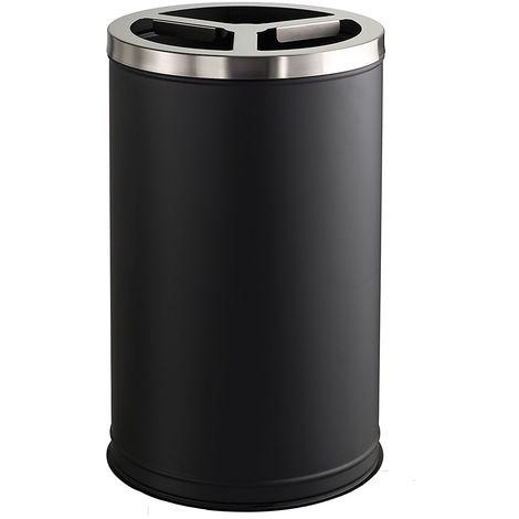 Poubelle tri sélectif avec couvercle inox brossé | acier peint époxy | Noir-Inox | 3 x 35 litres | 440x750 | Station - Noir