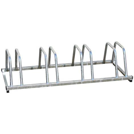 Range-vélos galvanisé, utilisable sur deux côtés – 4 places - Coloris: Gris