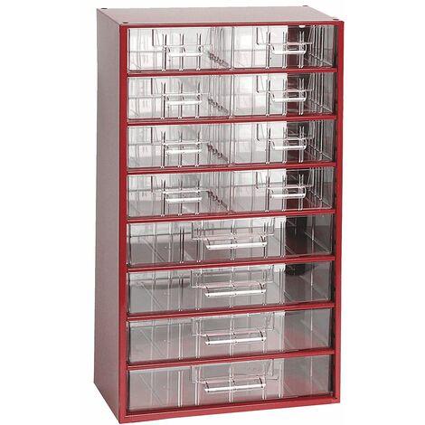 Casier pour vis   Rangement petits tiroirs  HxLxP 551 x 306 x 155 mm   12 compartiments   Rouge carmin   Certeo - Coloris du boîtier: rouge carmin RAL 3002