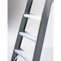 Escabeau à marches en aluminium, accès un côté, avec bac porte-outils 5 marches, hauteur de travail 3200 mm - Coloris piétement: Gris
