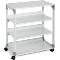 Table pour imprimante et de rangement passe-partout de Durable - 4 tablettes - gris clair - Coloris piétement: Gris