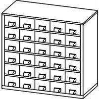 Casier pour vis | Rangement petits tiroirs| HxLxP 282 x 306 x 155 mm | 30 compartiments | Gris clair | Certeo - Coloris du boîtier: gris clair