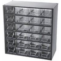 Casier pour vis   Rangement petits tiroirs  HxLxP 387 x 366 x 173 mm   24 compartiments   Gris   Certeo - Coloris tiroirs: transparent