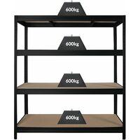 Étagère industrielle   600 kg par tablette   Largeur 1600 mm   HxP 1770 x 600 mm   Noir - noir