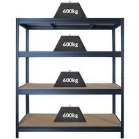 Rayonnage industriel à emboîter   600 kg par tablette   Largeur 1600 mm   HxP 1770 x 600 mm   Gris bleuté foncé - Gris foncé