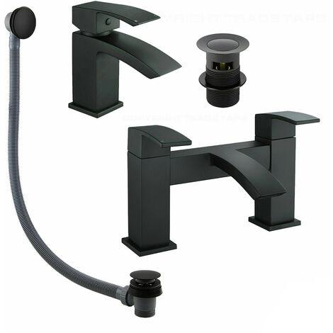 Black Matt Waterfall Basin & Bath Filler Tap Lever Square Deck Mounted Modern