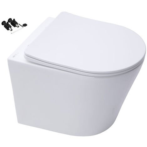 RIMLESS ECO WALL HUNG TOILET PAN WITH SOFT CLOSE SEAT & GROHE RAPID 0.82m SL 3 in 1 WC FRAME - Includes Shiny Chrome Flush Plate