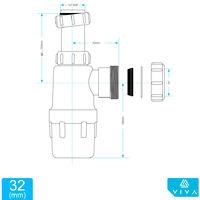 "32mm Adjustable Telescopic Height Basin Sink Waste Bottle Trap 1 1/4"" INCH"