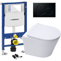 GEBERIT Sigma 0.98 Concealed Cistern WC Frame & ECO Rimless Wall Hung Toilet Pan