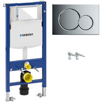 ECO Rimless Wall Hung Toilet Pan, Seat & GEBERIT Concealed Cistern Frame WC Unit - Gloss Chrome Flush Plate