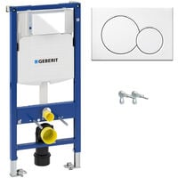 ECO Rimless Wall Hung Toilet Pan, Seat & GEBERIT Concealed Cistern Frame WC Unit - White Flush Plate