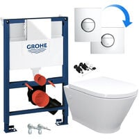 ECO Rimless Wall Hung Toilet Pan, Seat & GROHE RAPID NOVA 0.82m SL 3 in 1 WC FRAME - Includes Shiny Chrome Flush Plate