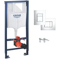 RAK Resort Wall Hung Toilet Rimless Pan & Seat, GROHE RAPID 1.13m SL 3 in 1 WC FRAME - Includes Shiny Chrome Flush Plate