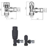 Thermostatic Angled Radiator Valve & Lockshield - Anthracite