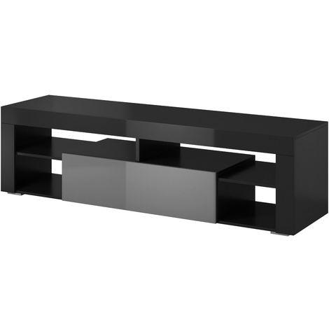 E-com Meuble tele Titan - 140 cm, Corps Noir / Facade Grise Laquee - Noir