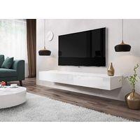 E-com - Meuble TV Armoire tele Table television Suspendu SIERRA - 140 cm - Blanc - Blanc