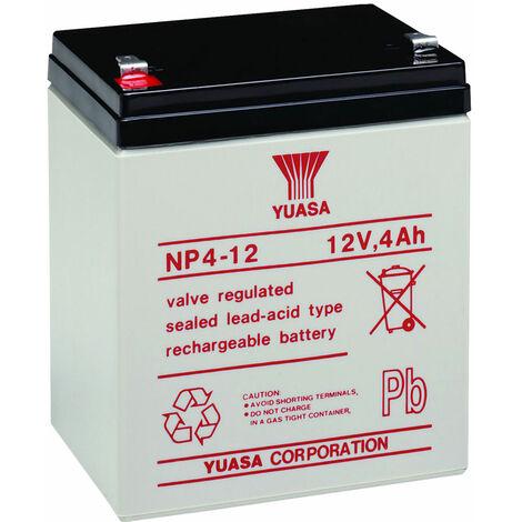 Yuasa NP Series NP4-12 Valve Regulated Lead-Acid Battery SLA 12V 4.0Ah