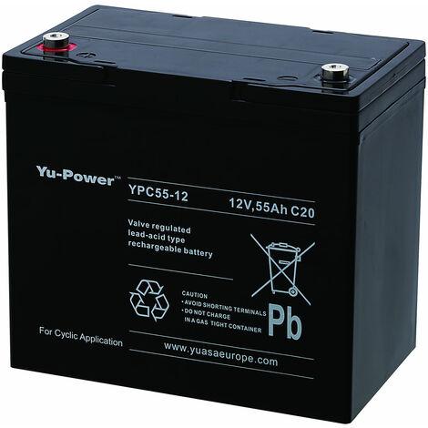 Yuasa Yu-Power YPC55-12 Deep Cycle Cyclic Battery SLA 12V 55Ah