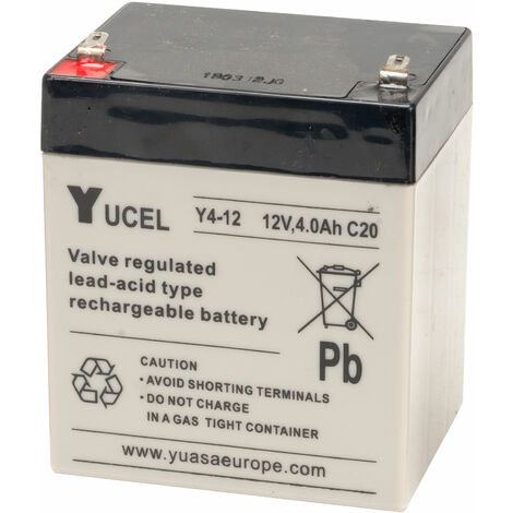 Yuasa Yucel Y4-12 Valve Regulated Lead Acid SLA Battery 12V 4.0Ah