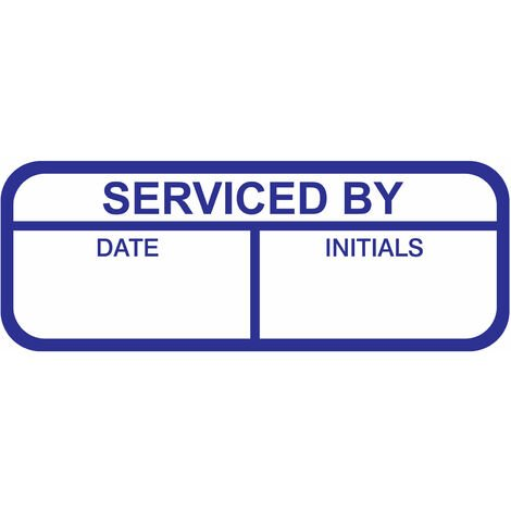 Serviced By Labels, Blue Mark & Seal, 40 x 15mm, Pack Of 120