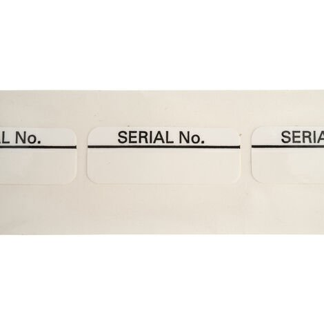 Customark ES003 Serial No. - Part Laminated Label - Pack 100