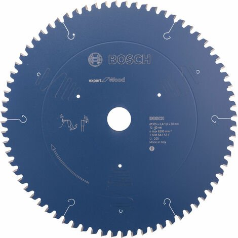 Bosch 2608642531 Mitre Saw Blade Expert for Wood 305 x 30 x 2.4mm 72 Teeth