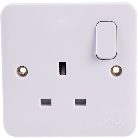 Schneider Electric GGBL3010S LWM 1 Gang 13A Switched Mains Socket